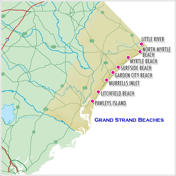 Grand Strand Beaches Map